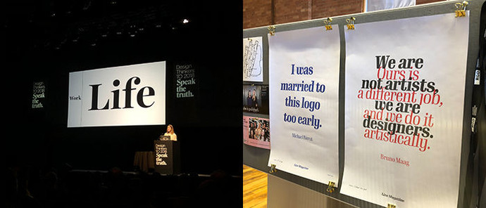 A collage of two photos. The one of the left is of a woman on a stage delivering a presentation, and the one on the right is of two posters with quotes on them. The posters are white and the text is coloured.