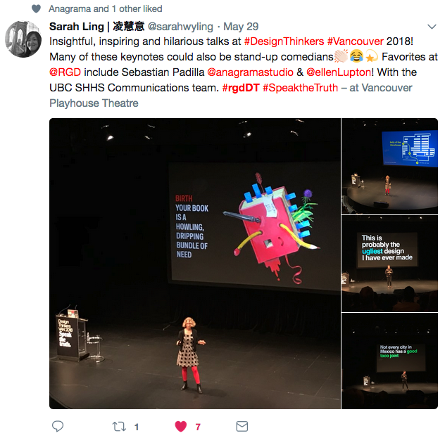 A tweet with images of different speakers. The speakers are far away and on stage in each image.