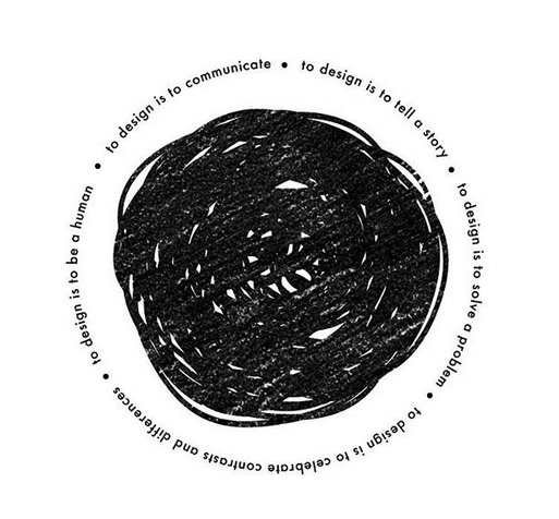A black ball of scribbles on a white background. Around the black ball of scribbles there are words.