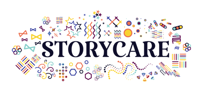 "The word ""storycare\"" with colourful doodles around it. The background is white."
