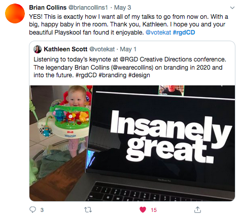 A screenshot of an interaction on Twitter between Kathleen Scott RGD and Brian Collins.