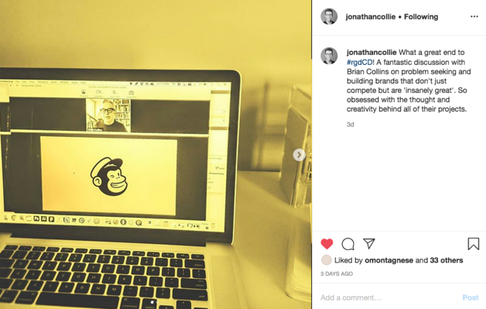 An Instagram post by Jonathan Collie Provisional RGD about his takeaways from Brian Collin\'s presentation.
