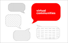 Virtual Communities is written in a red speech bubble, with other shaded, grey speech bubbles around it