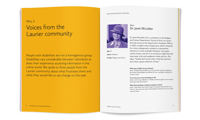 "Open handbook. The book is open to a page with the headline ""Voices from the Laurier community""."