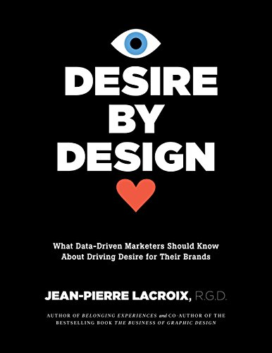 A black background with white text on it. A cartoon eye with a blye iris and a heart are on top and below the words desire by design.