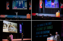 Four images of people standing on a stafe in front of a big screen.