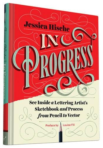 "A book cover with red, cream, and blue colours on it. The title ""In Progress\"" is written in swirly text."